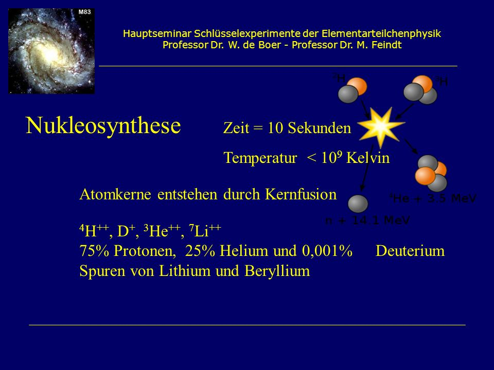 Nukleosynthese Zeit = 10 Sekunden Temperatur < 109 Kelvin
