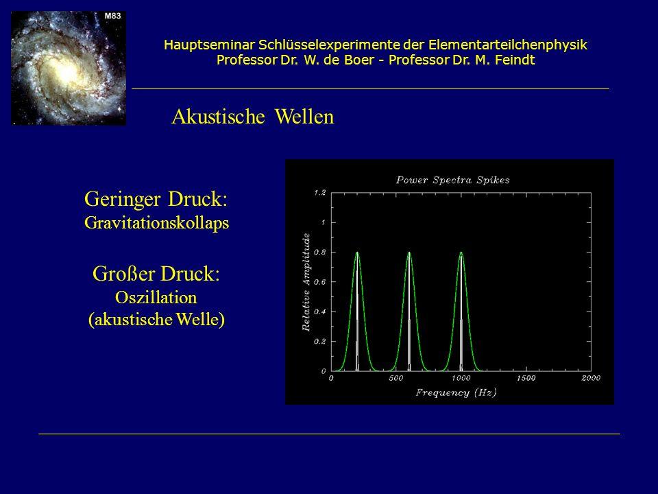 Akustische Wellen Geringer Druck: Großer Druck: Gravitationskollaps