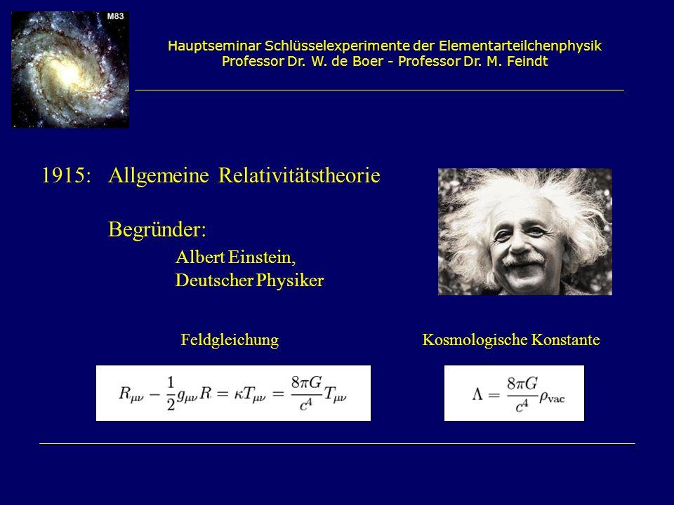 1915: Allgemeine Relativitätstheorie Begründer: Albert Einstein,
