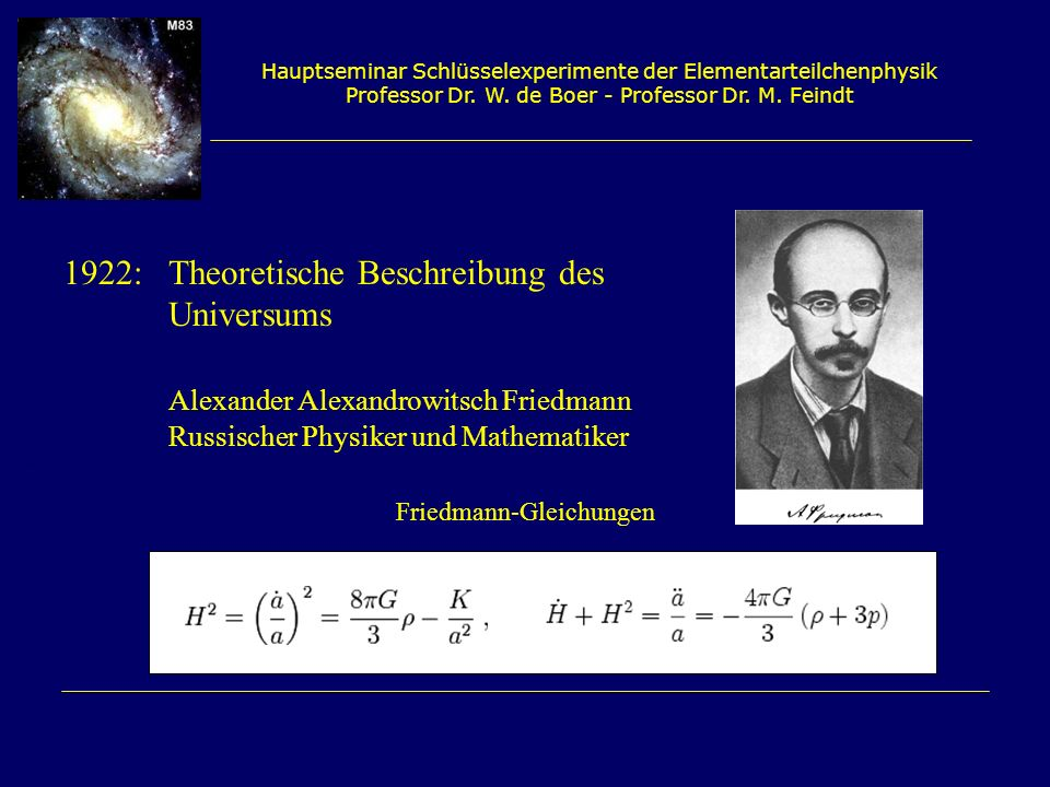1922: Theoretische Beschreibung des Universums