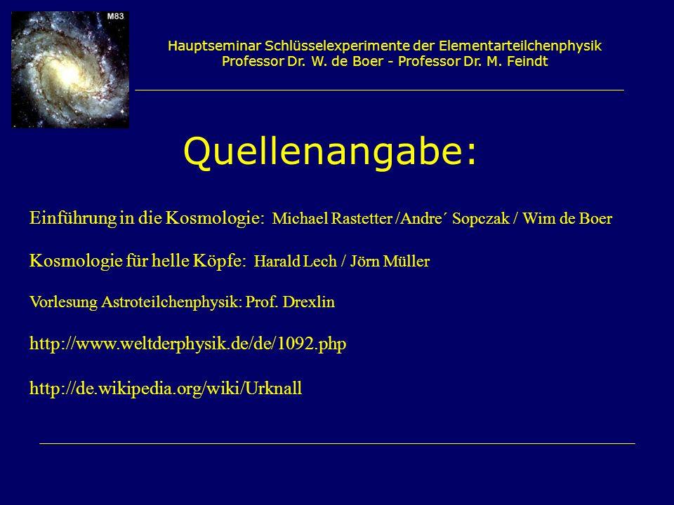 Hauptseminar Schlüsselexperimente der Elementarteilchenphysik