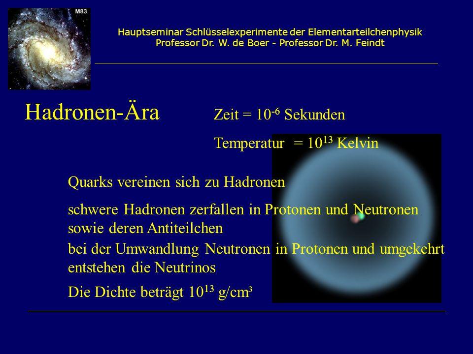 Hadronen-Ära Zeit = 10-6 Sekunden Temperatur = 1013 Kelvin