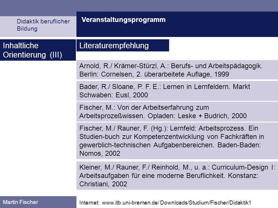 Inhaltliche Orientierung (III) Literaturempfehlung