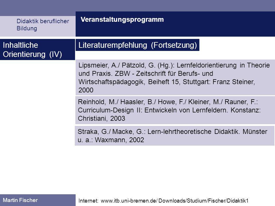 Inhaltliche Orientierung (IV) Literaturempfehlung (Fortsetzung)