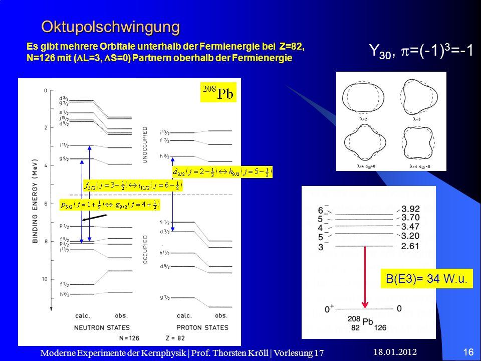 Oktupolschwingung Y30, p=(-1)3=-1 B(E3)= 34 W.u.