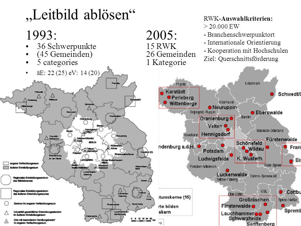 """""""Leitbild ablösen 1993: 2005: 36 Schwerpunkte 15 RWK"""