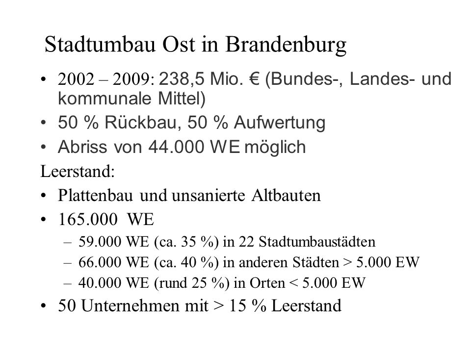Stadtumbau Ost in Brandenburg