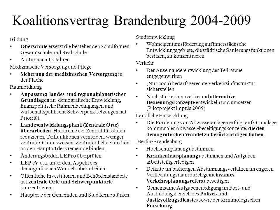 Koalitionsvertrag Brandenburg
