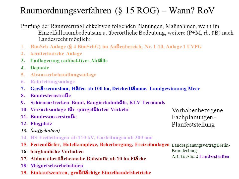 Raumordnungsverfahren (§ 15 ROG) – Wann RoV