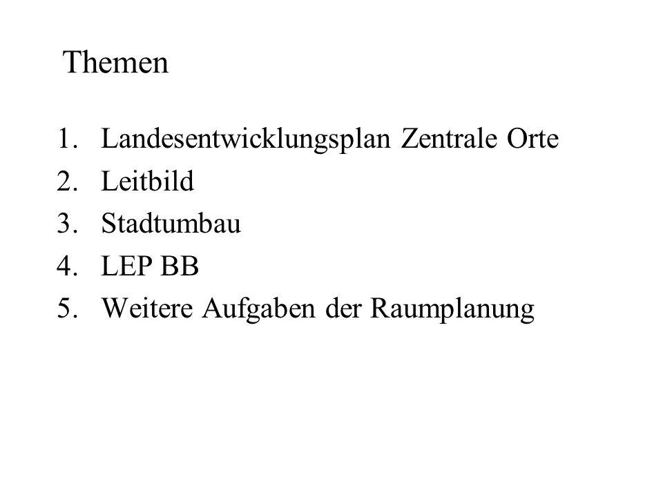 Themen Landesentwicklungsplan Zentrale Orte Leitbild Stadtumbau LEP BB