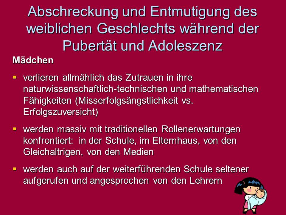 Abschreckung und Entmutigung des weiblichen Geschlechts während der Pubertät und Adoleszenz