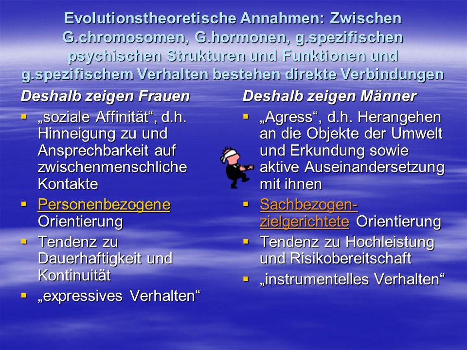 Evolutionstheoretische Annahmen: Zwischen G. chromosomen, G