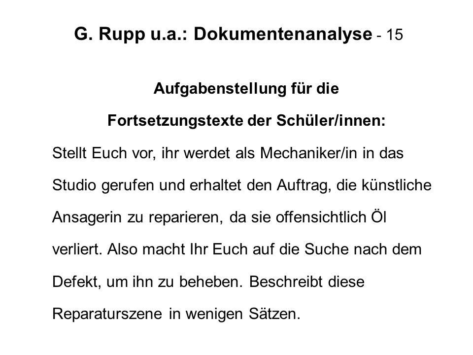 G. Rupp u.a.: Dokumentenanalyse - 15
