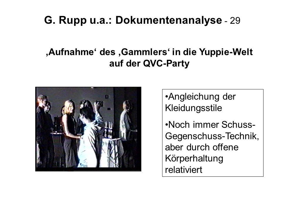 'Aufnahme' des 'Gammlers' in die Yuppie-Welt auf der QVC-Party
