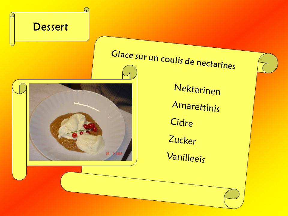 Dessert Nektarinen Amarettinis Cidre Zucker Vanilleeis