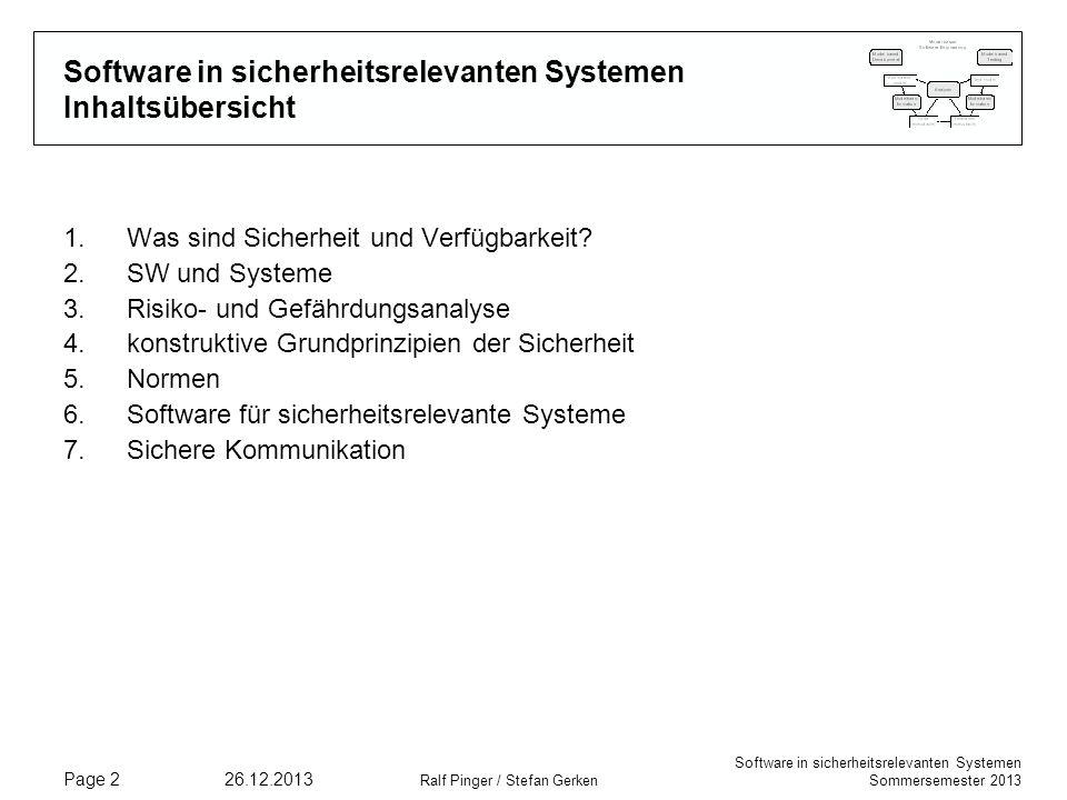 Software in sicherheitsrelevanten Systemen Inhaltsübersicht