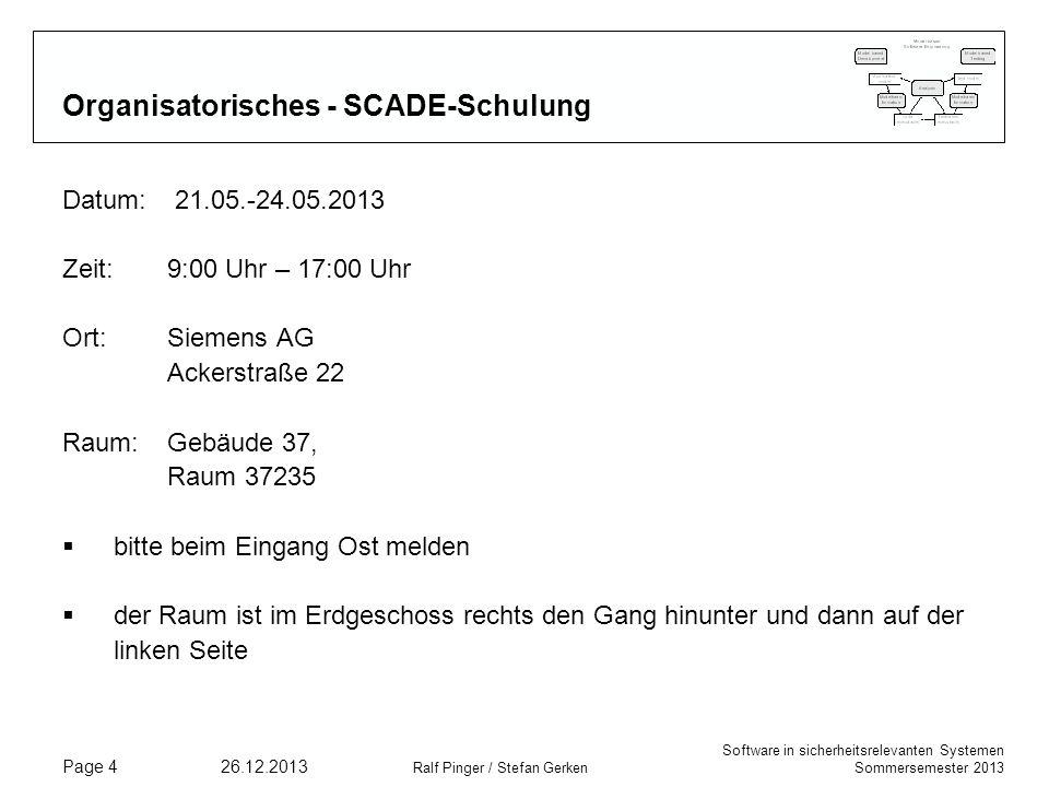 Organisatorisches - SCADE-Schulung