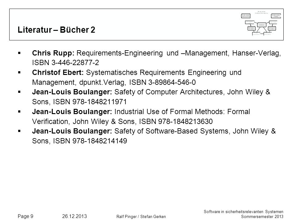 Literatur – Bücher 2 Chris Rupp: Requirements-Engineering und –Management, Hanser-Verlag, ISBN 3-446-22877-2.