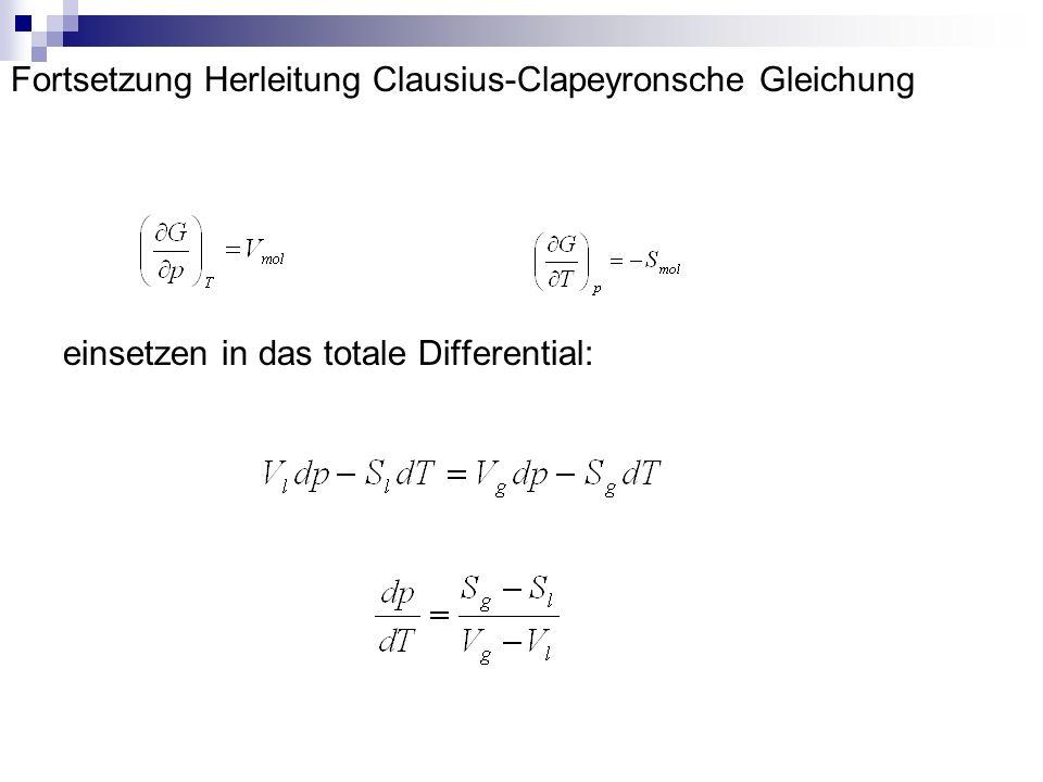 Fortsetzung Herleitung Clausius-Clapeyronsche Gleichung