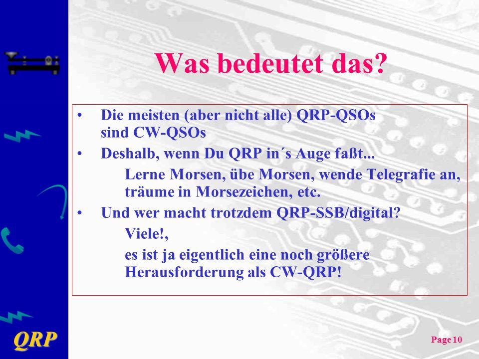 Was bedeutet das Die meisten (aber nicht alle) QRP-QSOs sind CW-QSOs