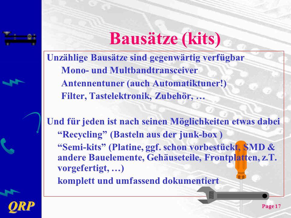 Bausätze (kits) Unzählige Bausätze sind gegenwärtig verfügbar