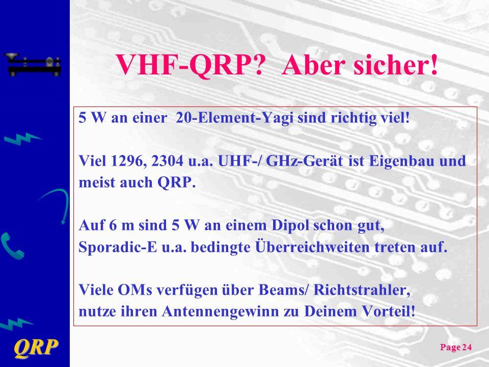 VHF-QRP Aber sicher! 5 W an einer 20-Element-Yagi sind richtig viel!