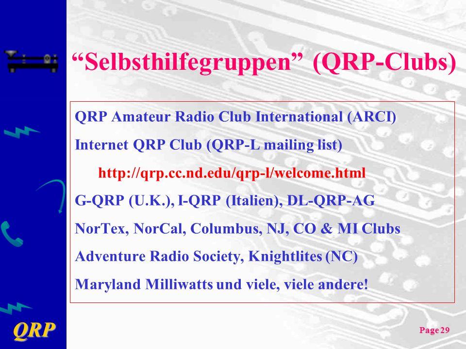 Selbsthilfegruppen (QRP-Clubs)