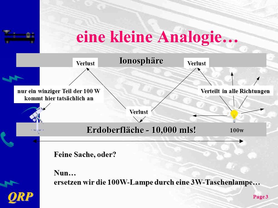 eine kleine Analogie… Ionosphäre Erdoberfläche - 10,000 mls!