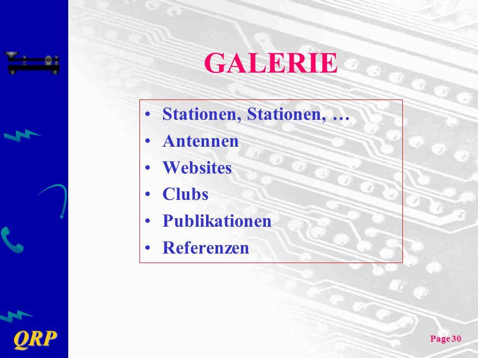 GALERIE Stationen, Stationen, … Antennen Websites Clubs Publikationen