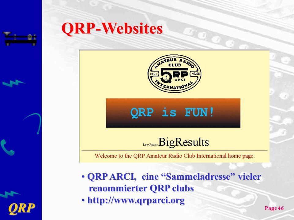 QRP-Websites QRP ARCI, eine Sammeladresse vieler renommierter QRP clubs.