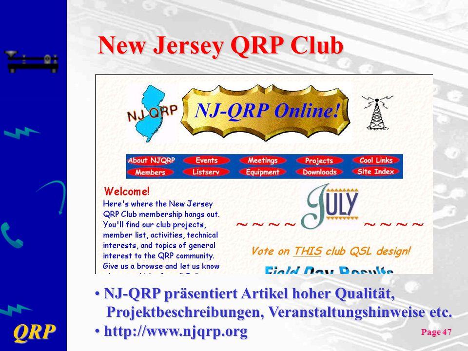 New Jersey QRP Club NJ-QRP präsentiert Artikel hoher Qualität,