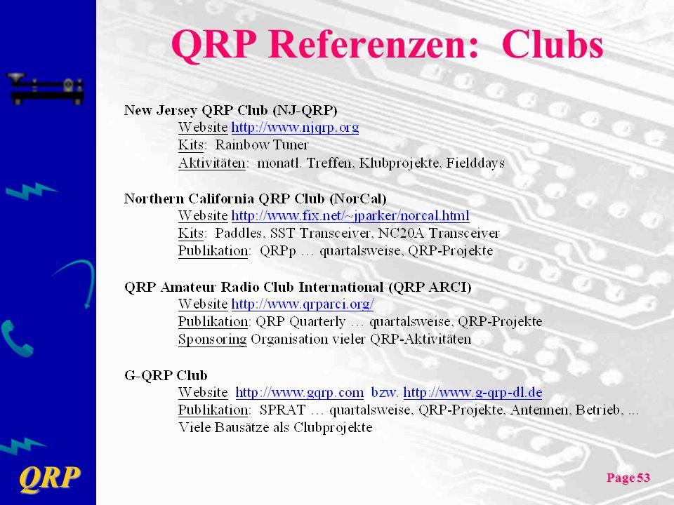 QRP Referenzen: Clubs