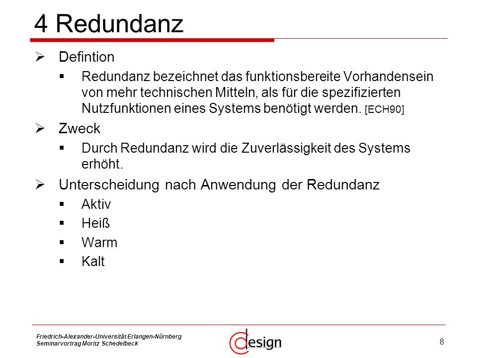 4 Redundanz Defintion Zweck