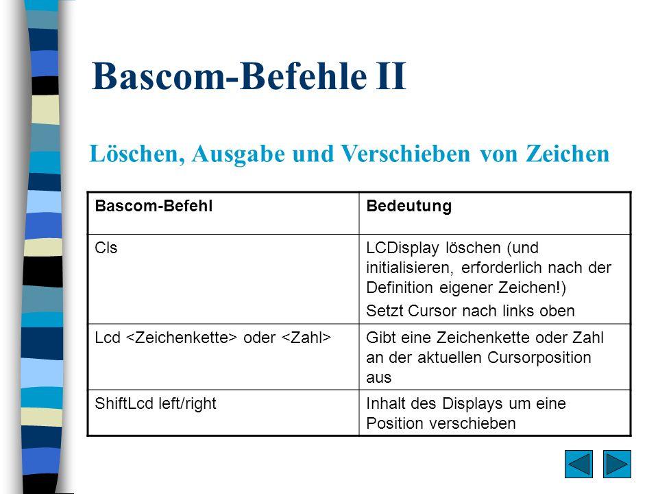 Bascom-Befehle II Löschen, Ausgabe und Verschieben von Zeichen