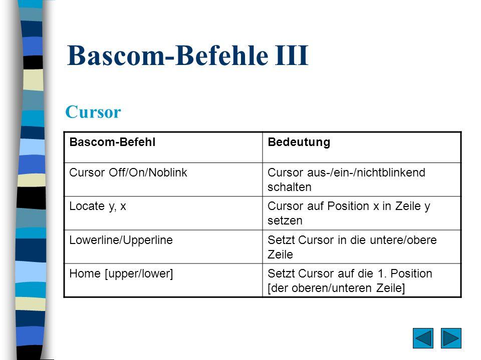 Bascom-Befehle III Cursor Bascom-Befehl Bedeutung