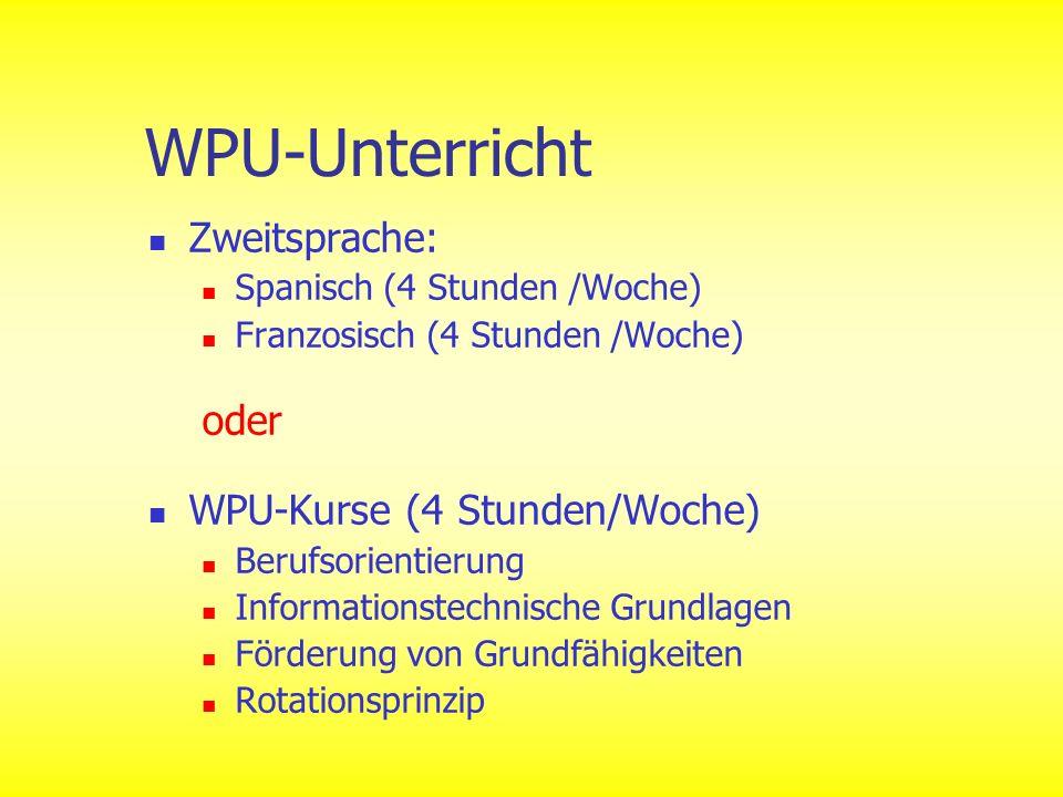 WPU-Unterricht Zweitsprache: oder WPU-Kurse (4 Stunden/Woche)