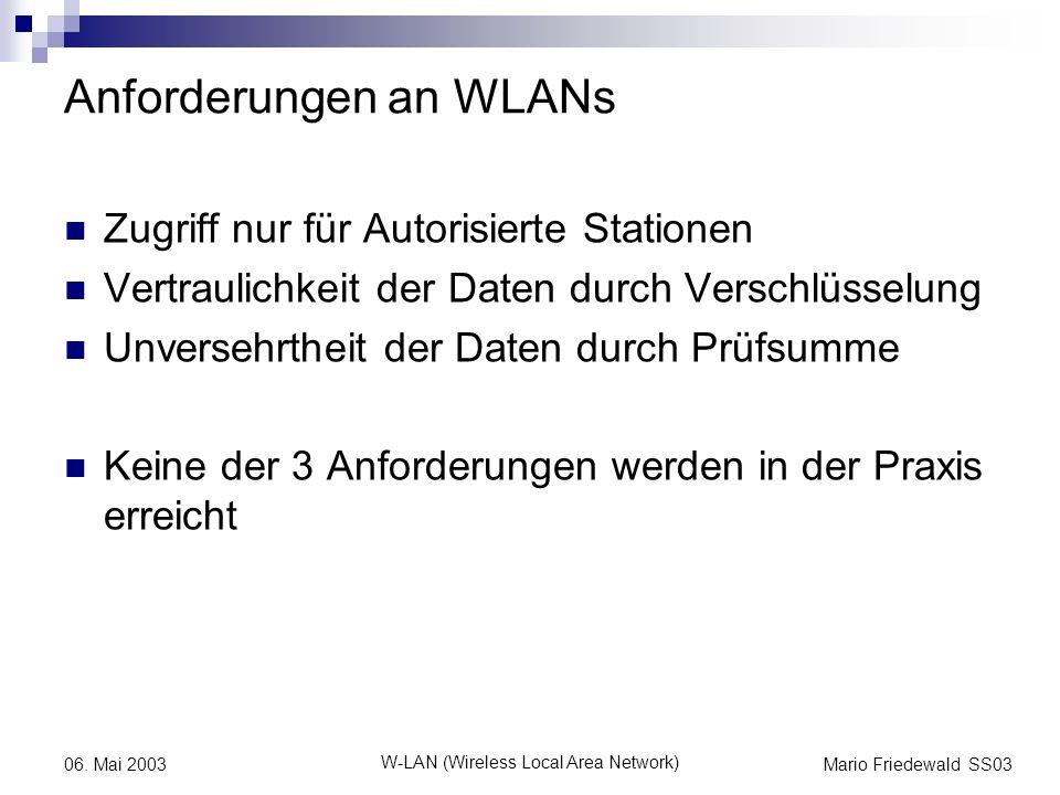 Anforderungen an WLANs