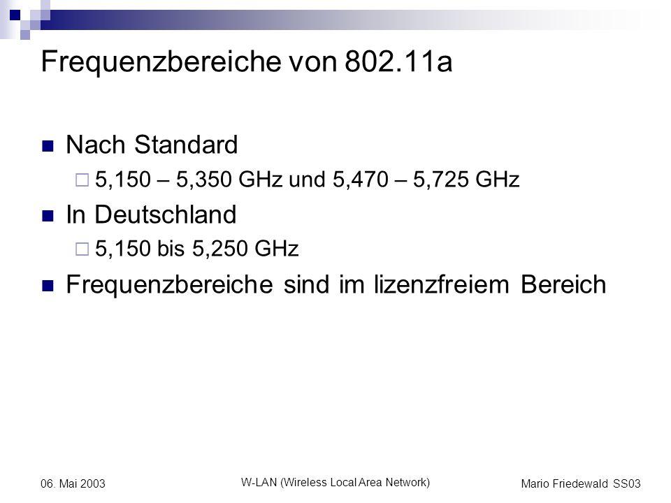 Frequenzbereiche von 802.11a