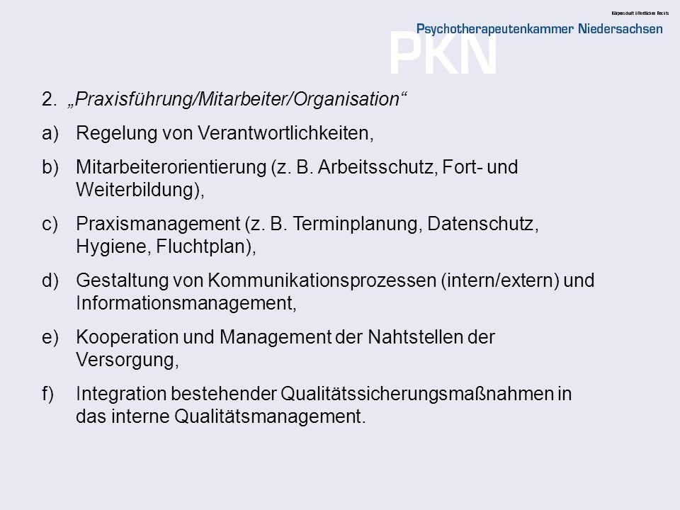 """2. """"Praxisführung/Mitarbeiter/Organisation"""