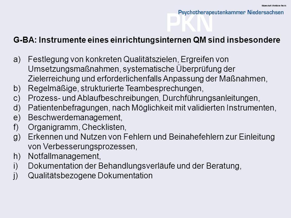 G-BA: Instrumente eines einrichtungsinternen QM sind insbesondere