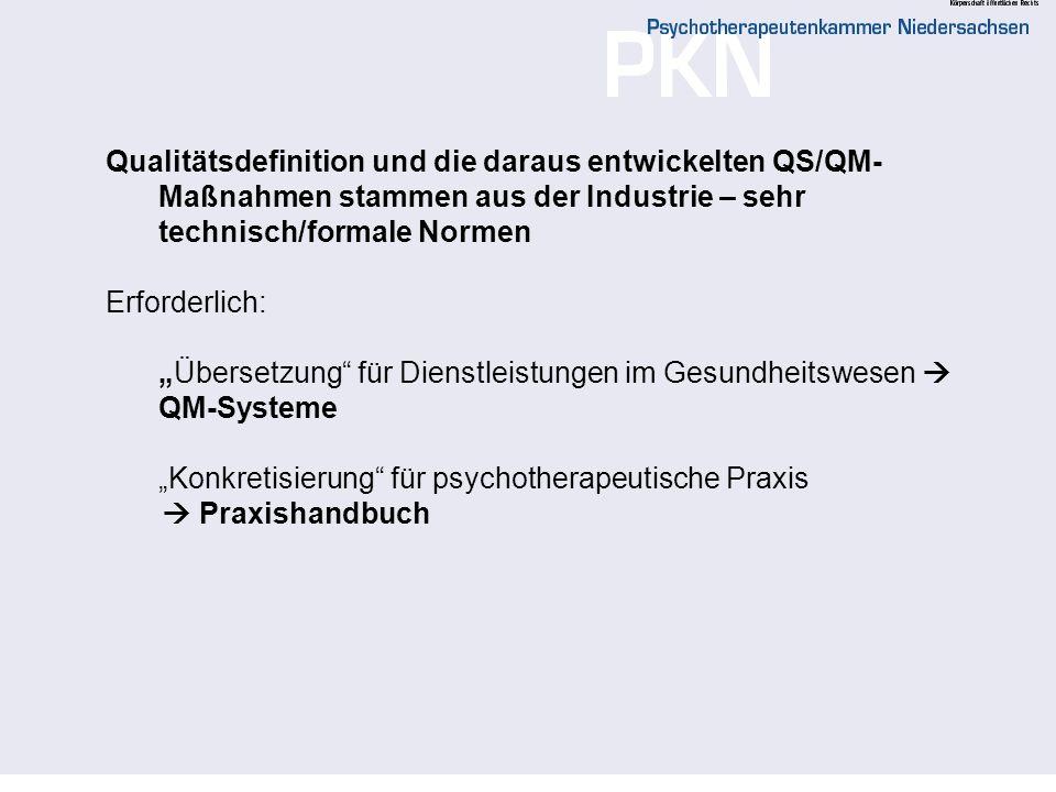 Qualitätsdefinition und die daraus entwickelten QS/QM-Maßnahmen stammen aus der Industrie – sehr technisch/formale Normen