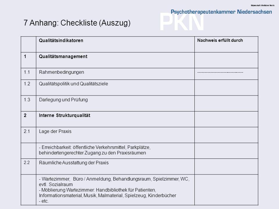 7 Anhang: Checkliste (Auszug)