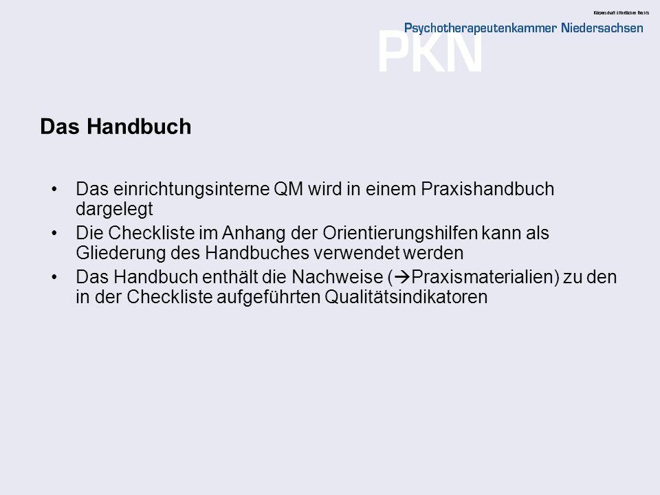 Das Handbuch Das einrichtungsinterne QM wird in einem Praxishandbuch dargelegt.