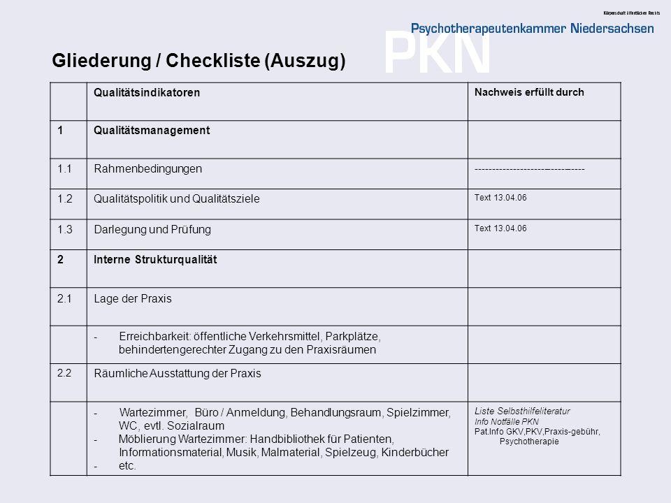 Gliederung / Checkliste (Auszug)