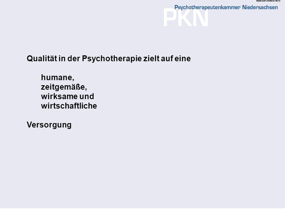 Qualität in der Psychotherapie zielt auf eine