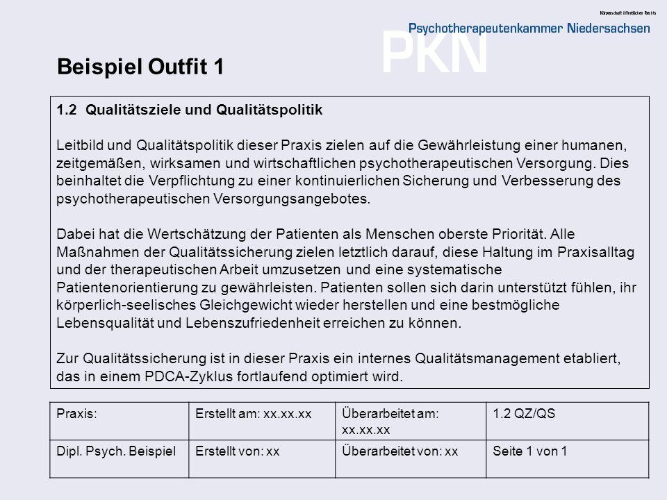 Beispiel Outfit 1 1.2 Qualitätsziele und Qualitätspolitik