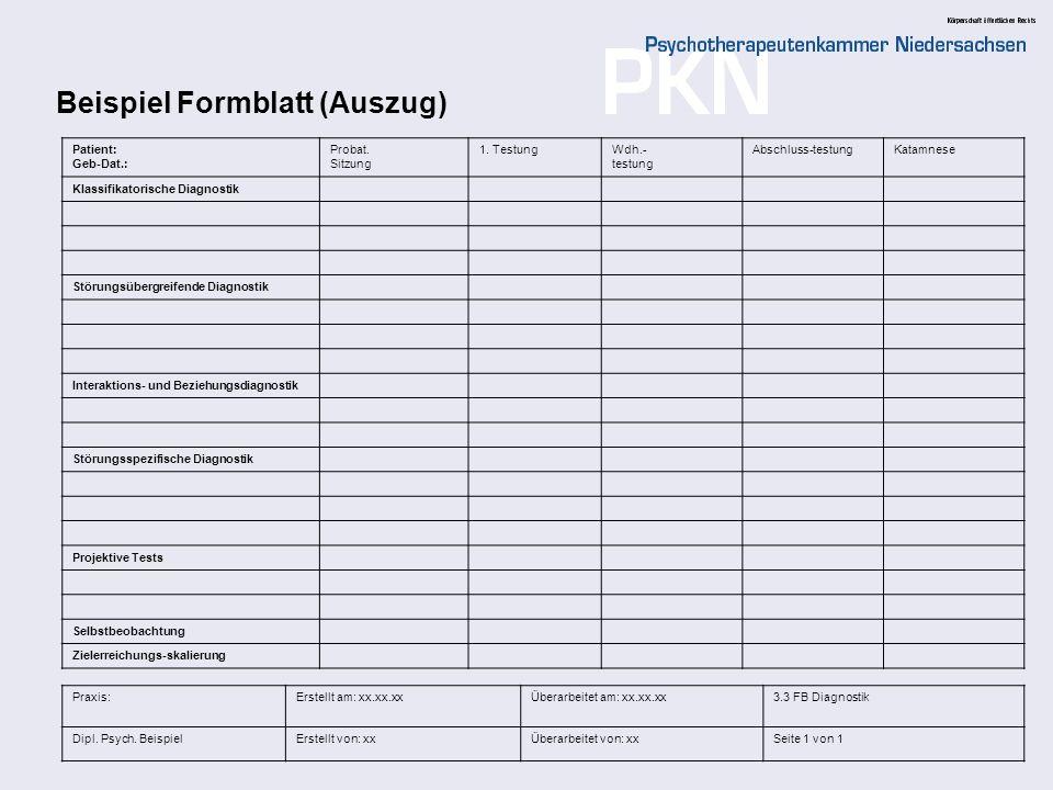 Beispiel Formblatt (Auszug)