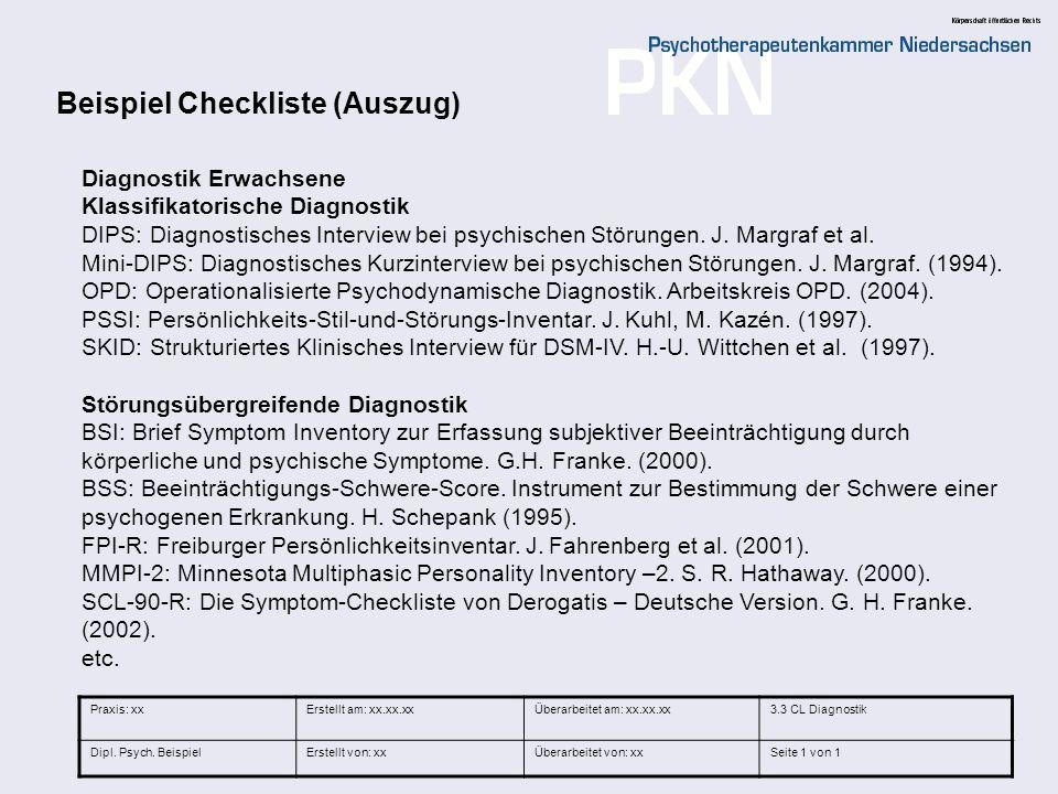 Beispiel Checkliste (Auszug)