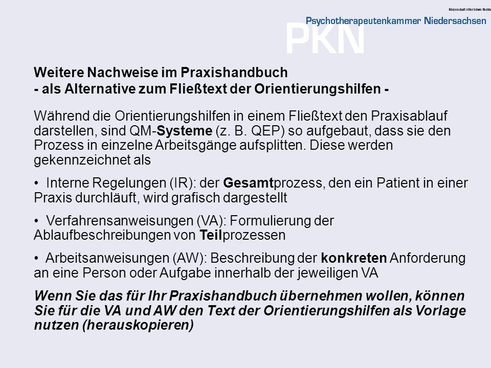 Weitere Nachweise im Praxishandbuch - als Alternative zum Fließtext der Orientierungshilfen -