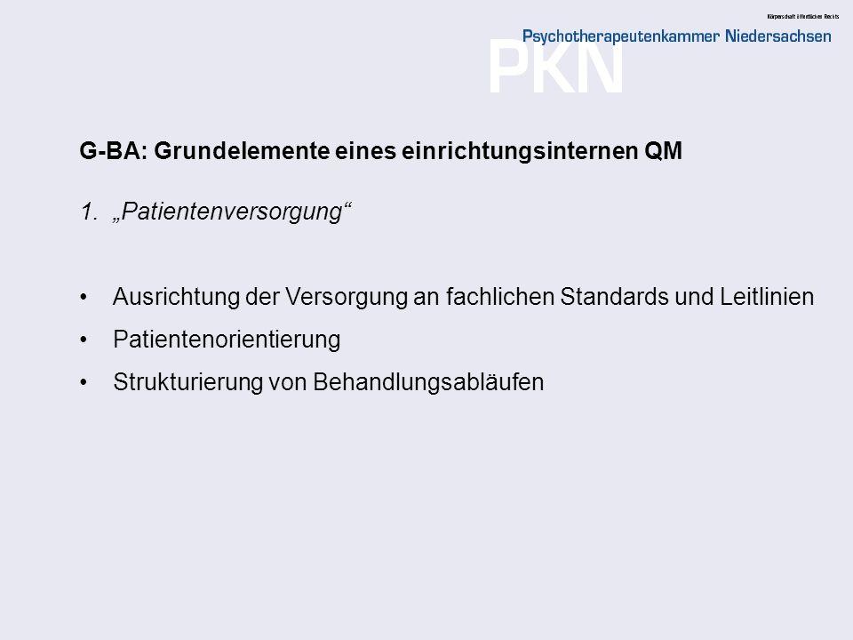 G-BA: Grundelemente eines einrichtungsinternen QM
